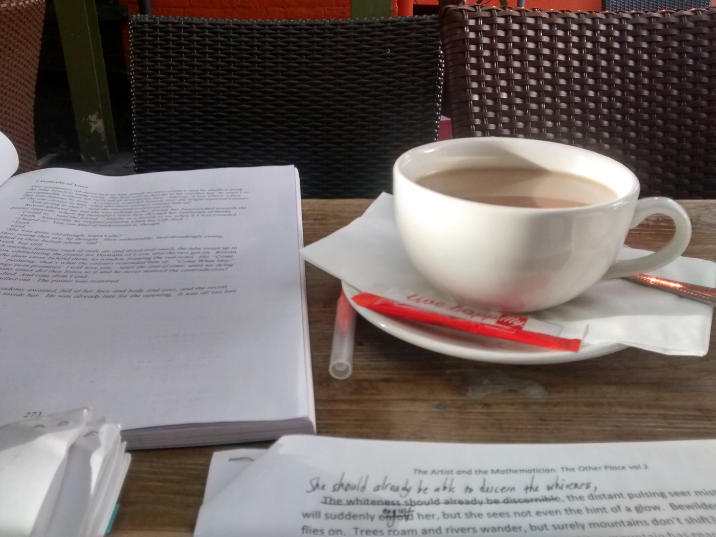 Coffee and writing in pub gardens