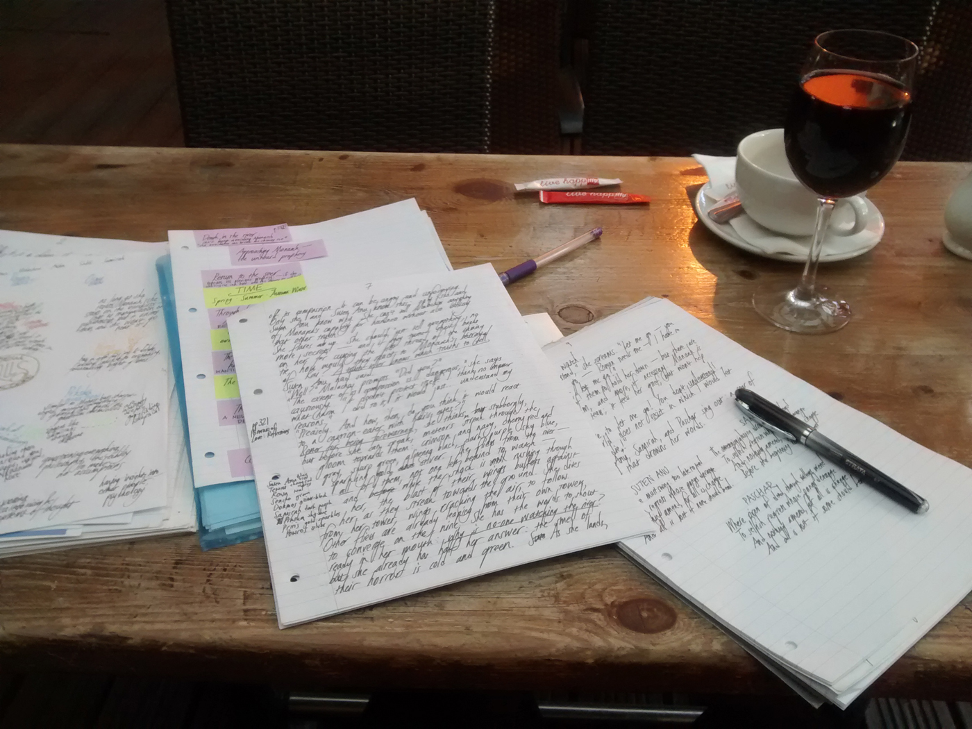 Writing with wine