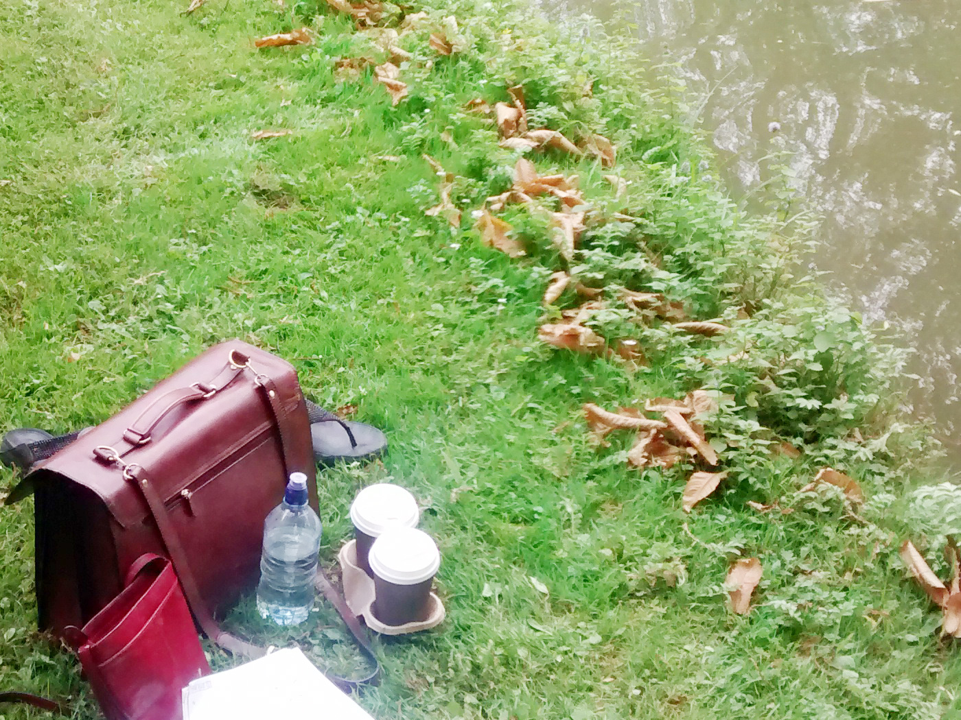 Writing equipment by the riverside