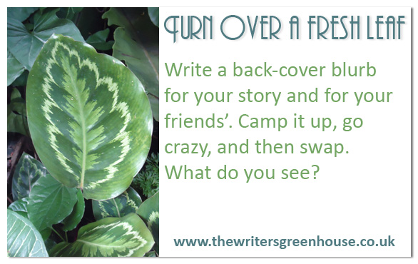 Write a back-cover blurb for your story and your friends'. Camp it up, go crazy, and then swap. What do you see?
