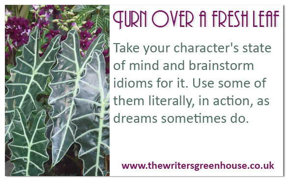 Take your character's state of mind and brainstorm idioms for it. Use some of them literally, in action, as dreams sometimes do.