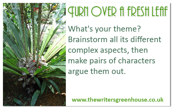What's your theme? Brainstorm all its different complex aspects, then make pairs of characters argue them out.